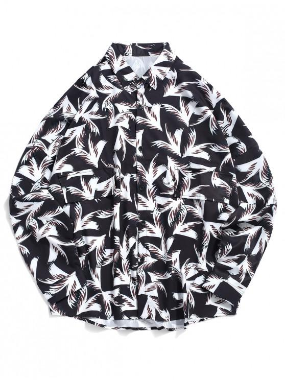 unique Allover Plant Print Faux Pocket Shirt - MULTI L