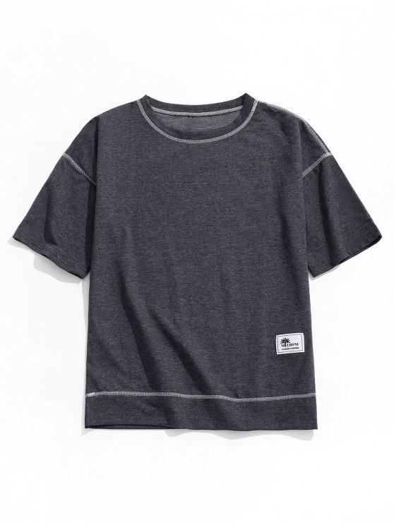 ladies Applique Solid Color Short Sleeves T-shirt - GRAY L