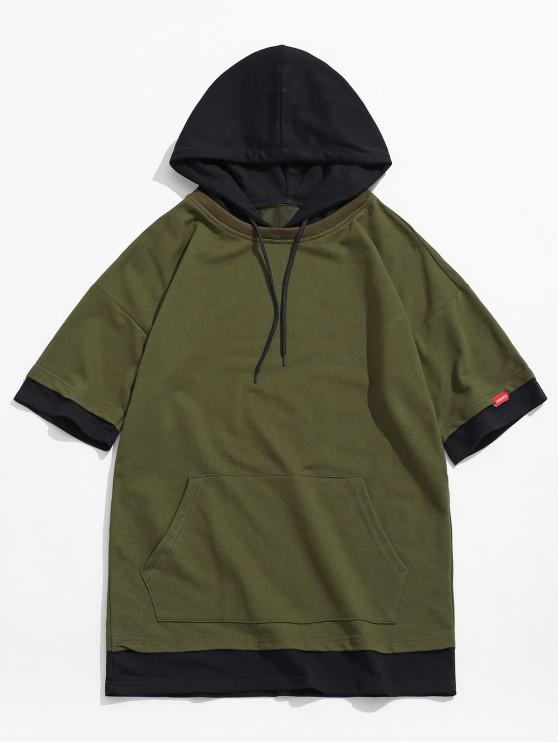best Kangaroo Pocket Color Block Panel Hooded T-shirt - ARMY GREEN XS