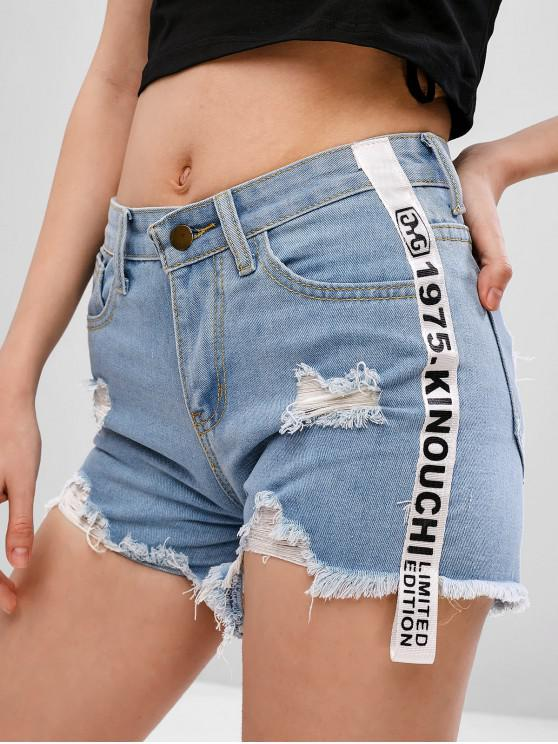 lady Letter Patched Ripped Denim Shorts - JEANS BLUE S