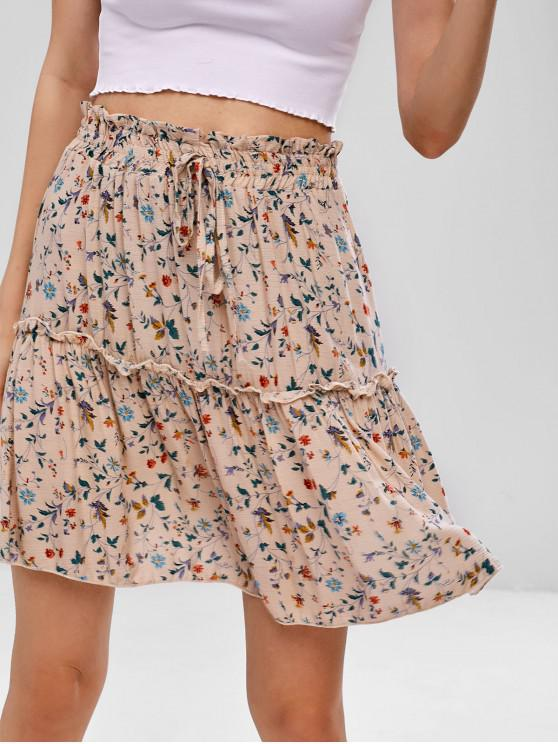 women's Bowknot Embellished Floral Print Flare Skirt - APRICOT S