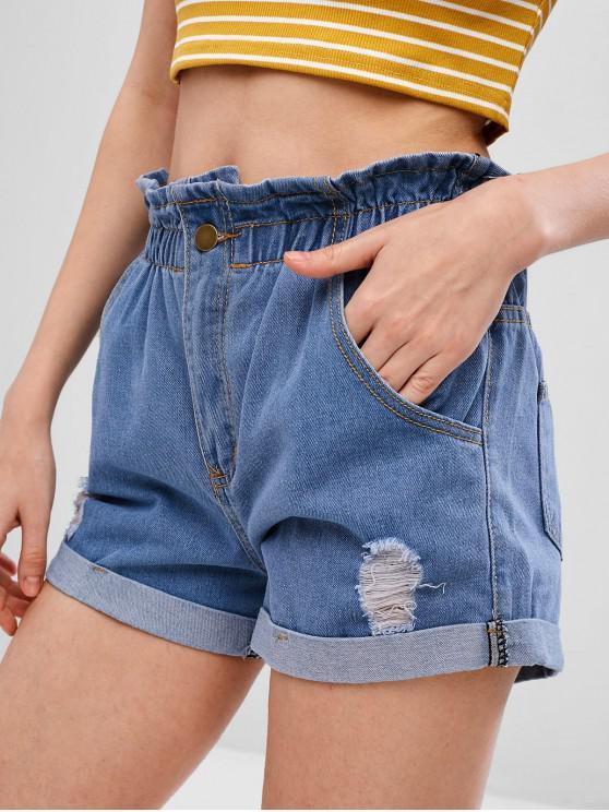 chic Ripped Cuffed Denim Shorts - JEANS BLUE L