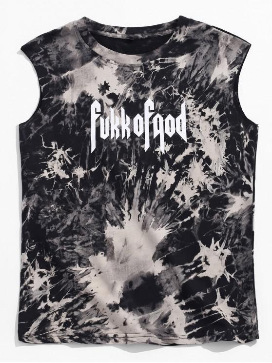 fashion Ink Painting Letters Print Casual Tank Top - BLACK 4XL
