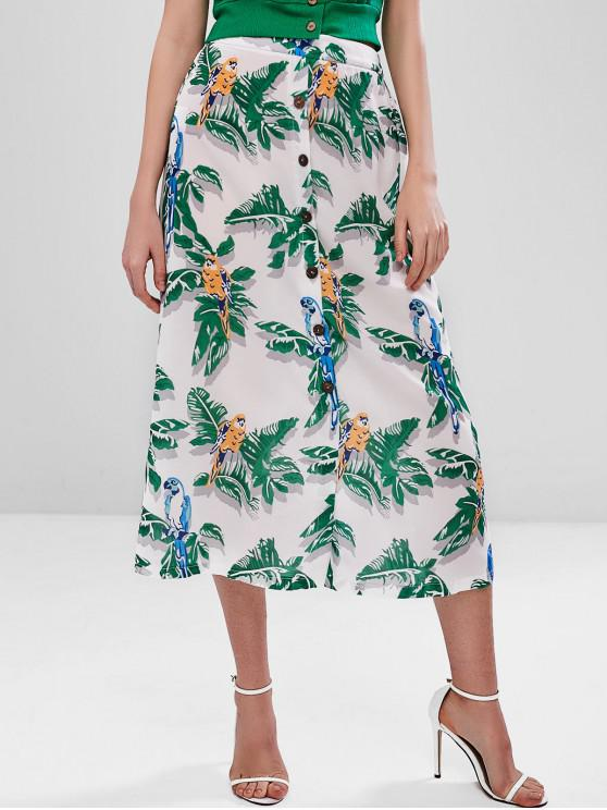 shop Palm Leaf Midi Skirt - WHITE L