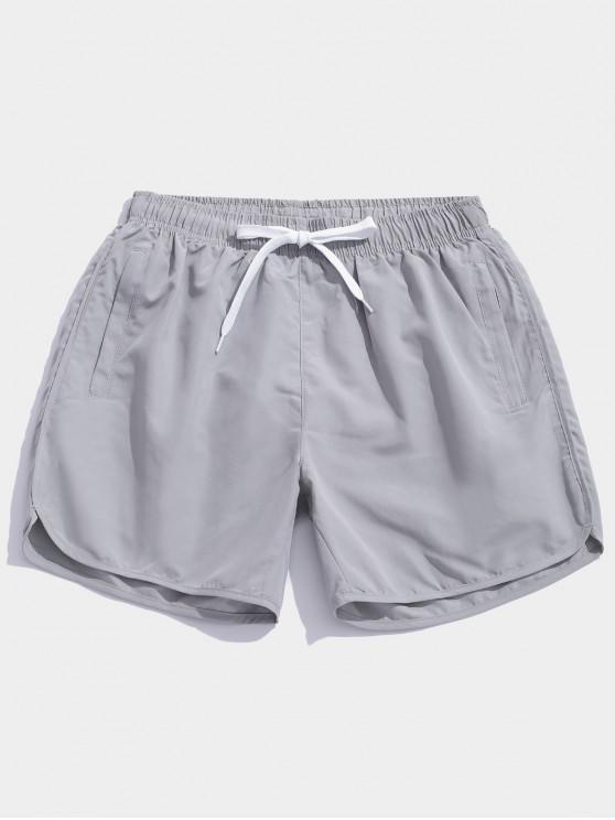 Pantalones cortos de natación casual de color sólido - Nube Gris L