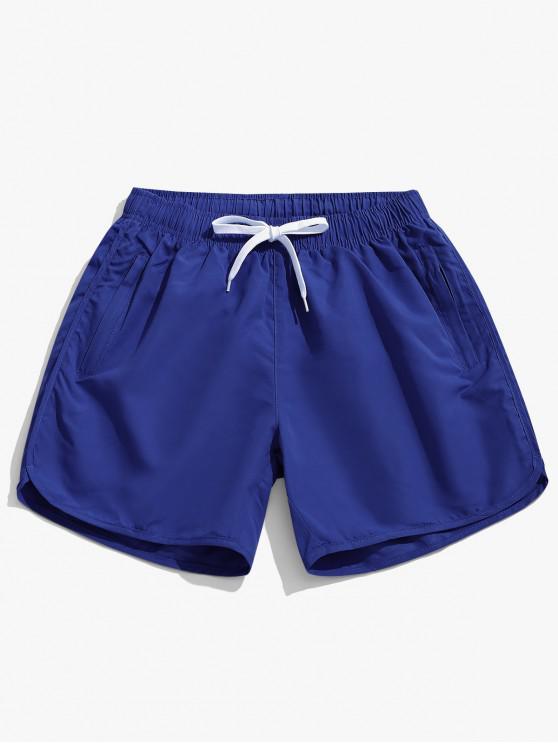 Pantalones cortos de natación casual de color sólido - Azul Profundo M