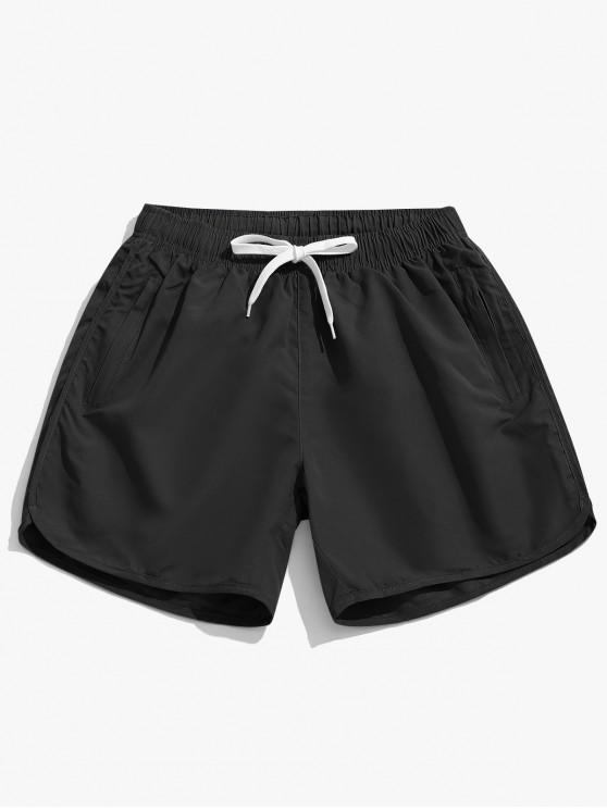 buy Solid Color Casual Swimming Shorts - BLACK L