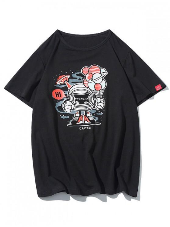 chic Robot Graphic Print Short Sleeves T-shirt - BLACK XL
