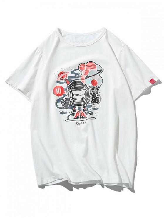 buy Robot Graphic Print Short Sleeves T-shirt - WHITE XL