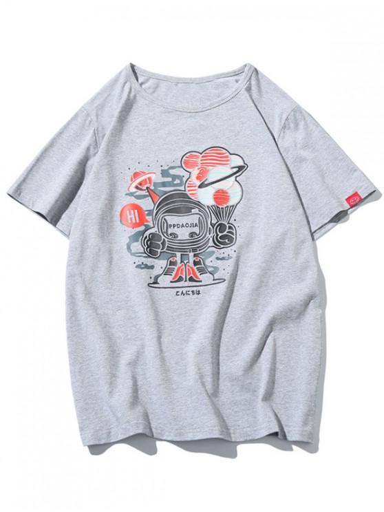 Robot Graphic Print - Kurzärmliges T-Shirt - Hellgrau XL