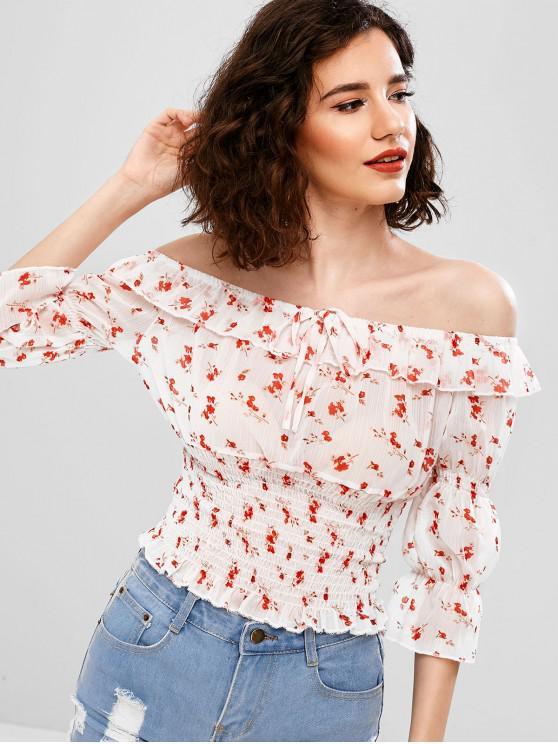 fashion Off Shoulder Floral Print Smocked Blouse - WHITE M