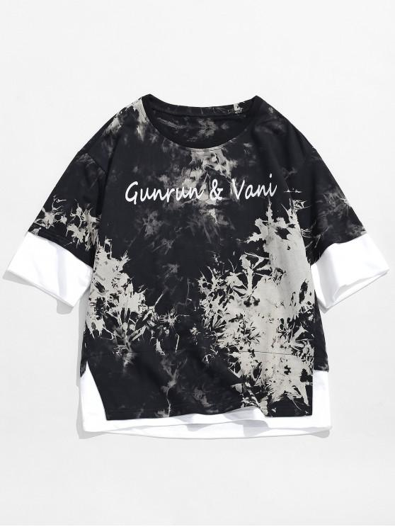 buy Letters Ink Painting Print Faux Twinset T-shirt - BLACK 3XL