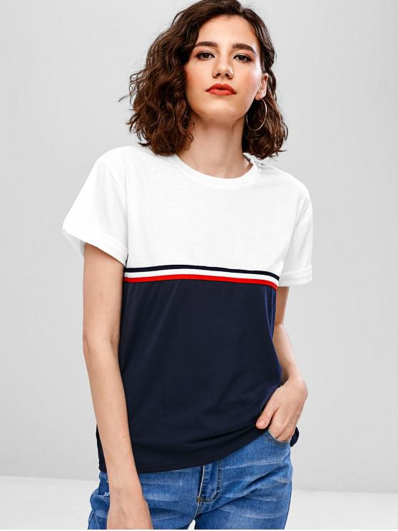 women Striped Color Block Rolled Cuffs T-shirt - WHITE S
