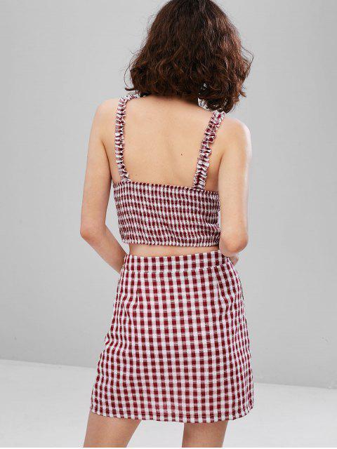 new ZAFUL Tie Front Plaid Smocked Slit Skirt Set - RED WINE S Mobile