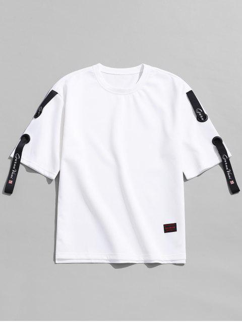 Camiseta con diseño de cinta en color liso. - Blanco 4XL Mobile