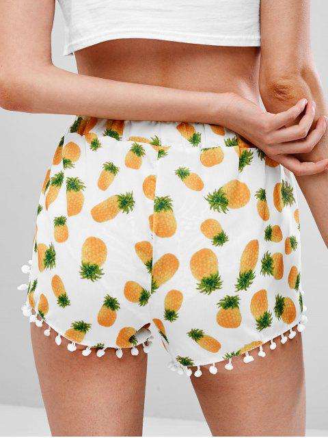 best Pompoms Embellished Pineapple Print Shorts - WHITE S Mobile