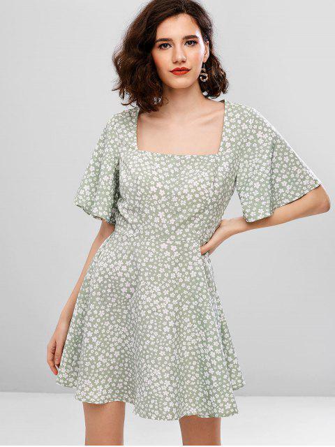 lady ZAFUL Floral Square Neck A Line Dress - PALE BLUE LILY S Mobile