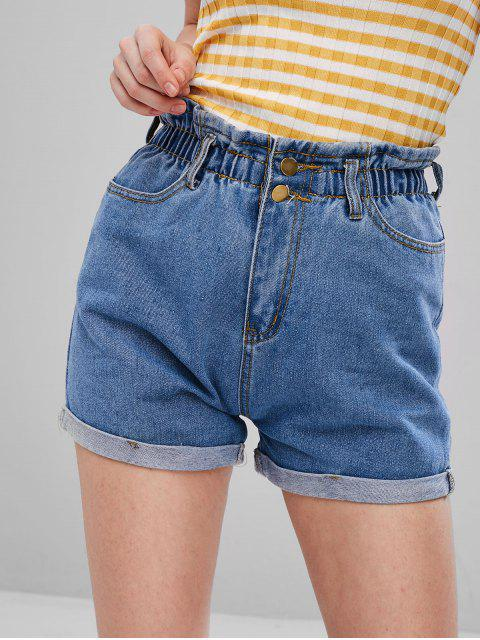 hot High Waist Cuffed Denim Shorts - JEANS BLUE L Mobile