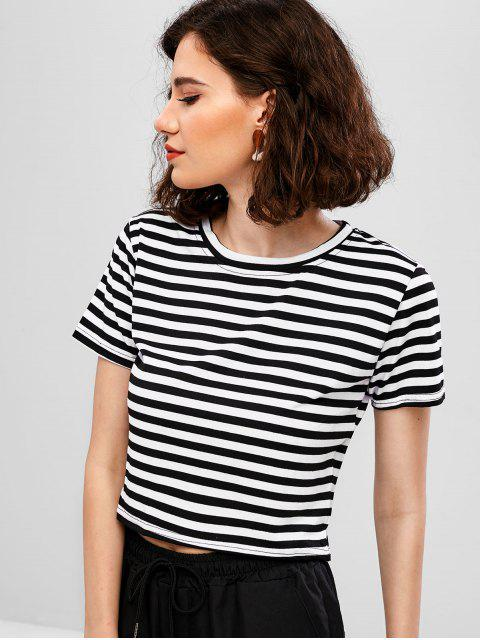 chic Casual Striped Short Sleeve T-shirt - BLACK L Mobile