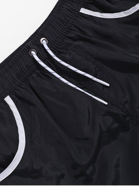 best Color Block Hem Drawstring Brief Shorts - BLACK 2XL Mobile