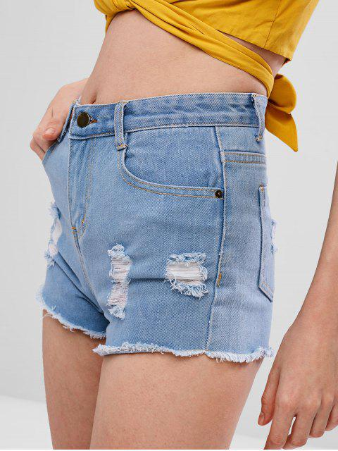 outfit Frayed Hem Denim Ripped Shorts - JEANS BLUE S Mobile