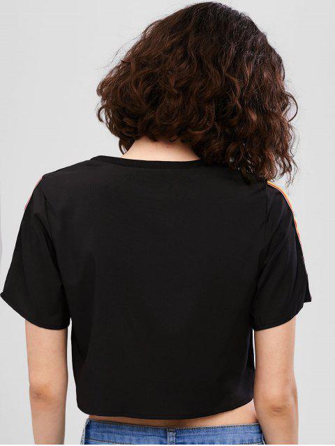T-shirt Court Rayé Coloré - Noir S Mobile