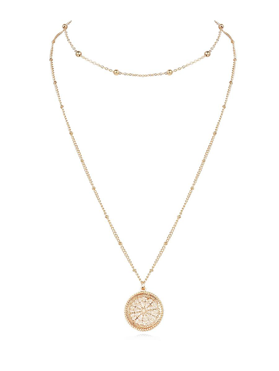Alloy Double-layer Hollow Out Pendant Necklace, Gold