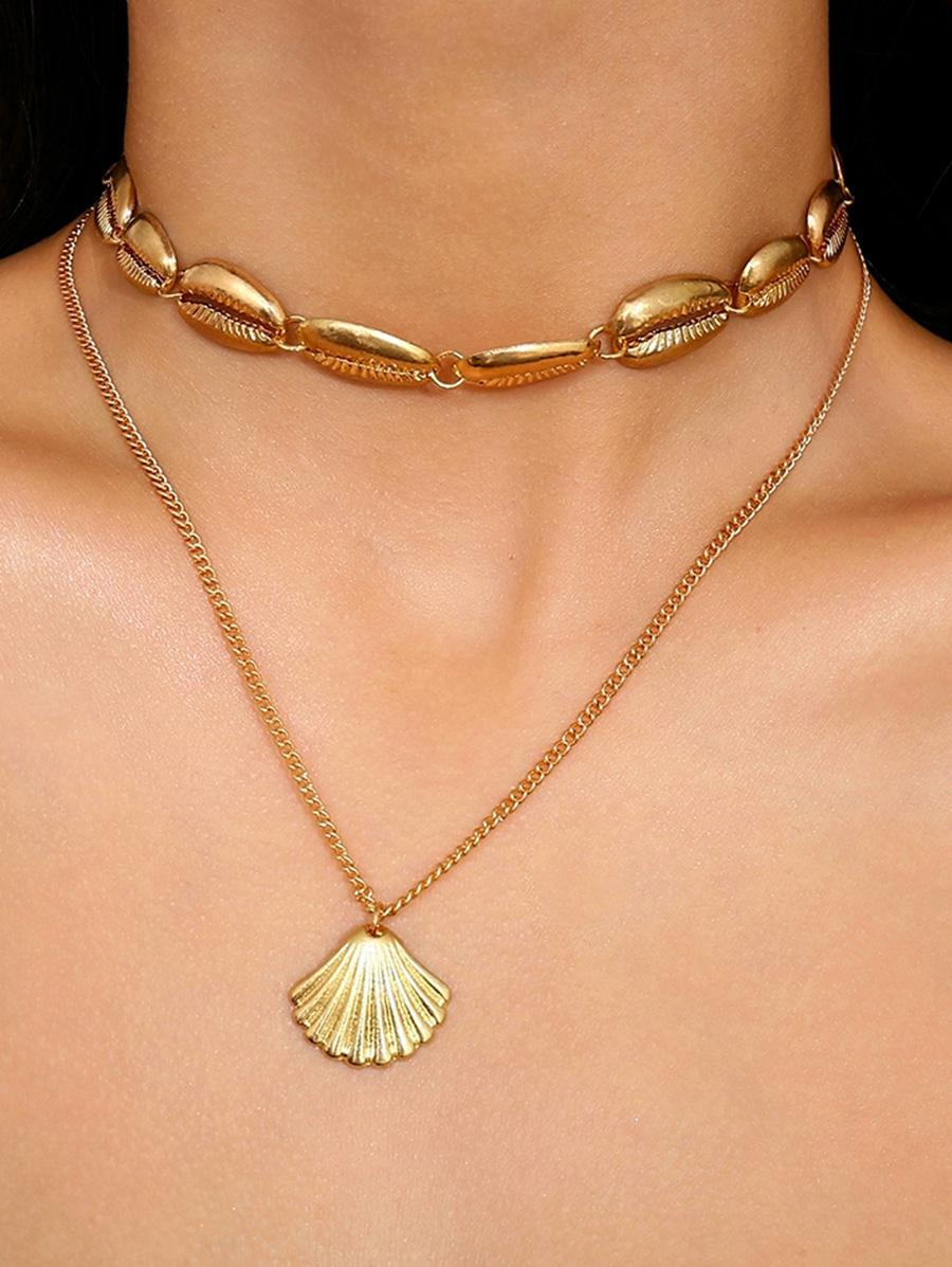 Seashell Shape Multilayered Alloy Necklace, Gold