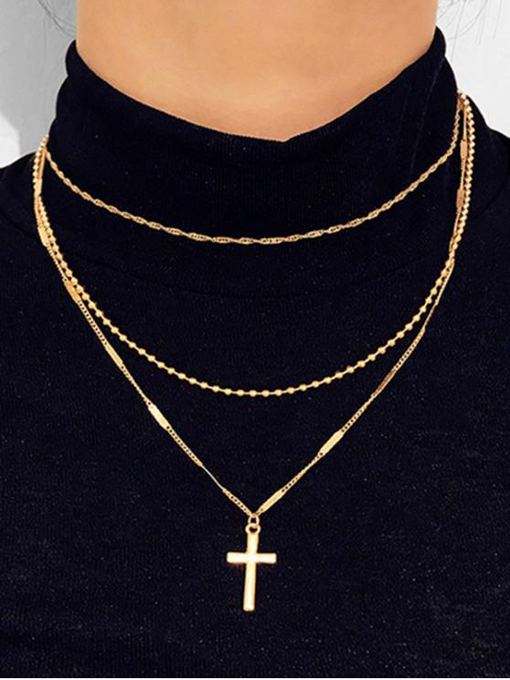 lady Cross Pendant Layered Necklace - GOLD