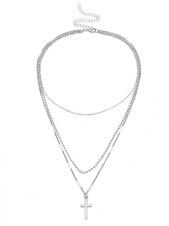 online Cross Pendant Layered Necklace - SILVER