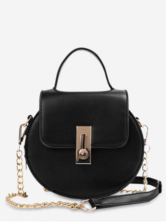 shop Faux Leather Flap Chain Crossbody Bag - BLACK