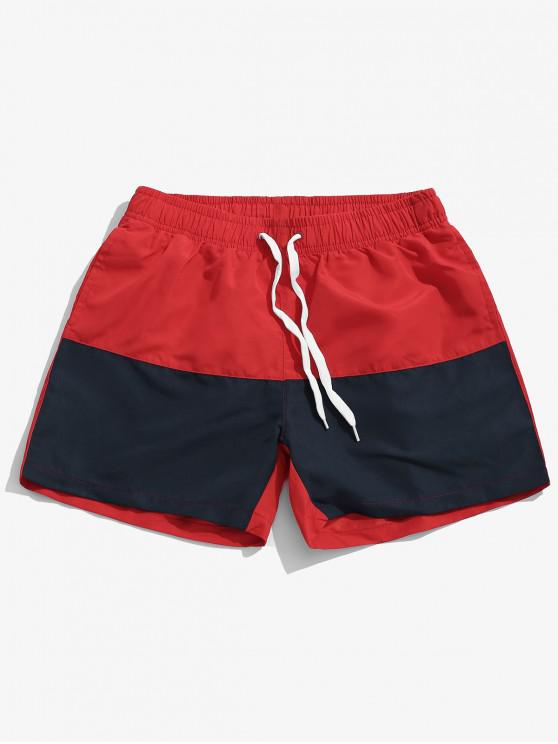 shops Two Tone Panel Beach Swimming Shorts - RED XL