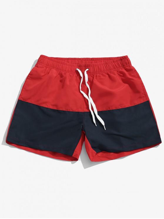 Pantalones cortos de natación de playa en dos tonos - Rojo 2XL