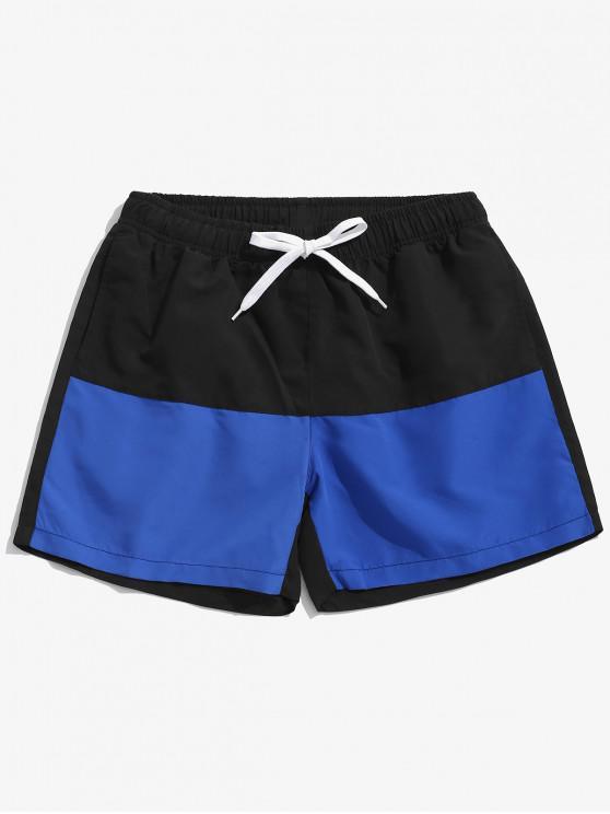 fashion Two Tone Panel Beach Swimming Shorts - BLACK L