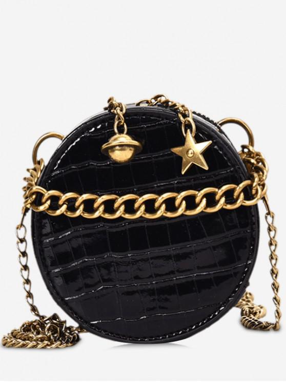 outfit Round Shape Star Design Crossbody Bag - BLACK