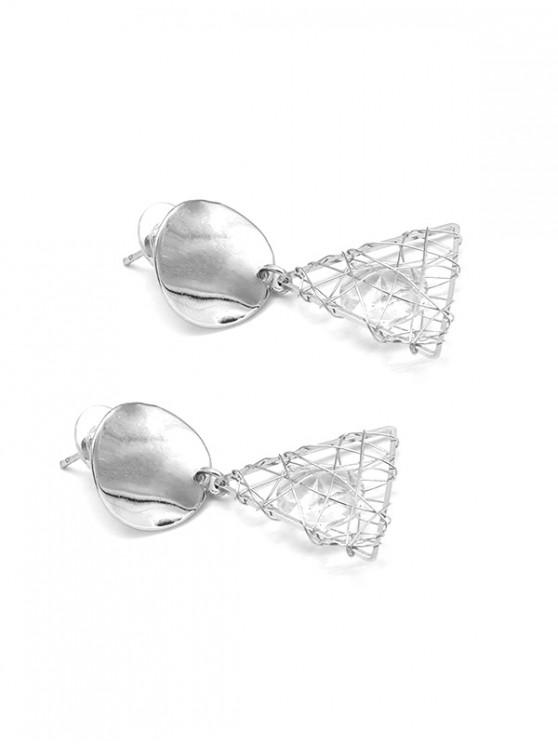 trendy Imitated Crystal Triangle Earrings - SILVER