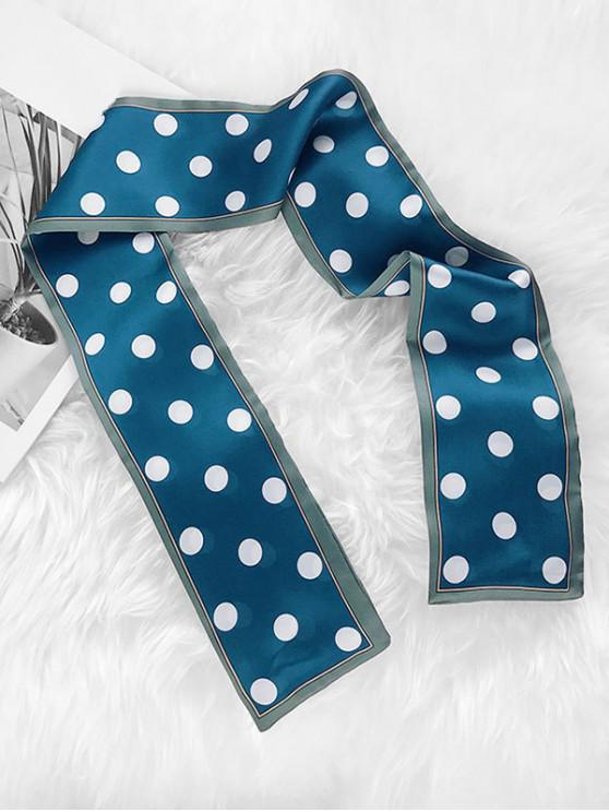best Narrow Polka Dot Print Scarf - PEACOCK BLUE