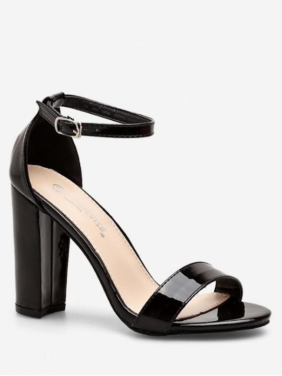 best Simple Buckled High Heel Sandals - BLACK EU 38