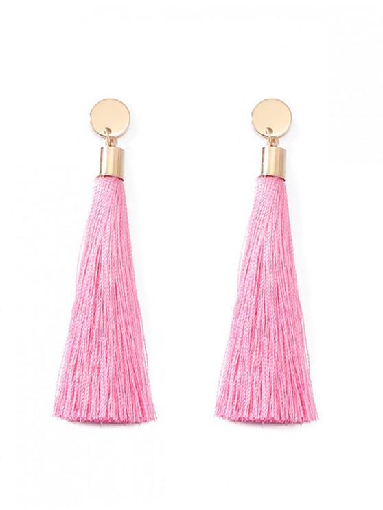 fancy Round Long Tassel Dangle Earrings - PINK