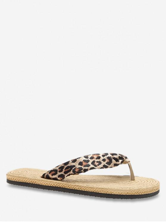 ladies Open Toe Personality Design Flat Slippers - LEOPARD EU 36