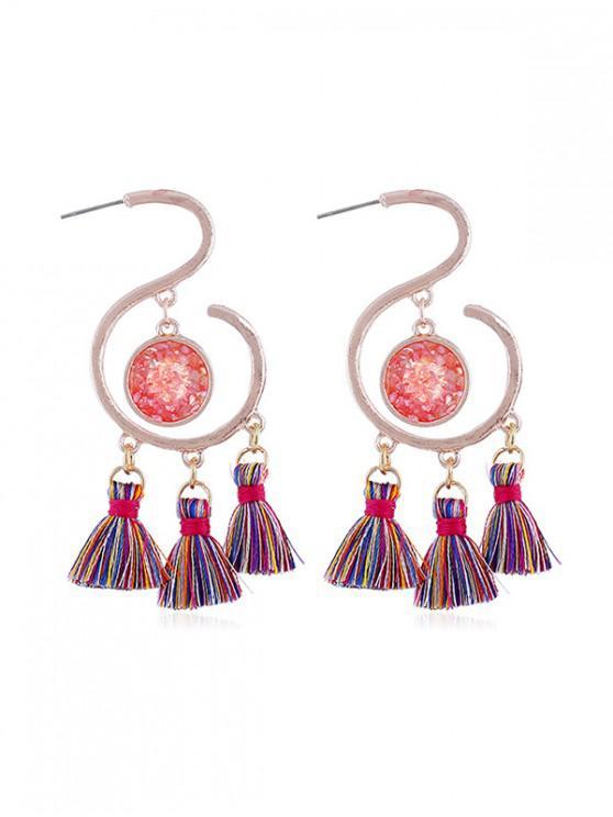 online Faux Gemstone Tasseled Earrings - ROSE GOLD