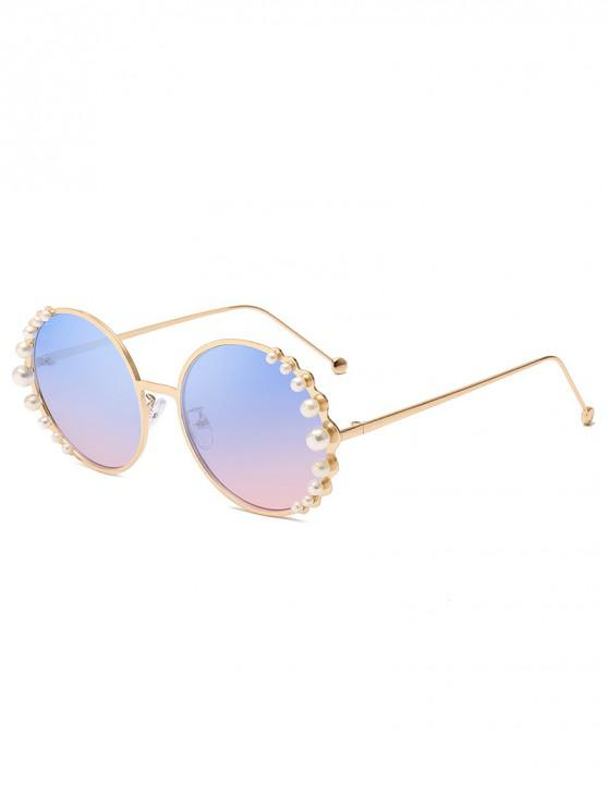 outfits Polarized Pearl Decorated Round Frame Sunglasses - POWDER BLUE