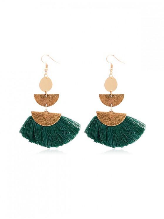 shop Geometric Sector Fringe Earrings - DARK GREEN