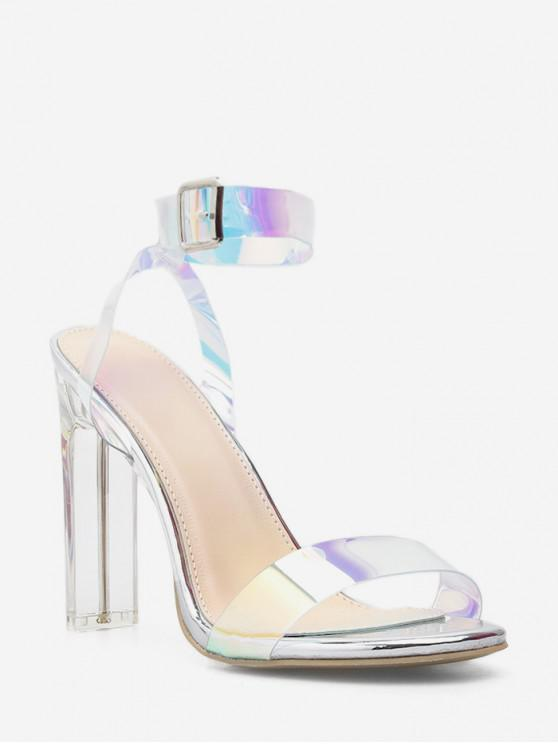 ladies Holographic Clear Block Heel Sandals - SILVER EU 38