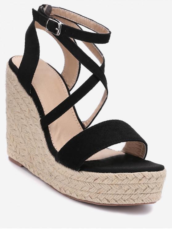 Sandalias de Tacón Alto con Cuña Cruzada - Negro EU 40