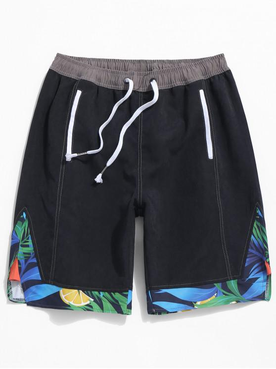 women Plant Print Splicing Beach Shorts - BLACK L
