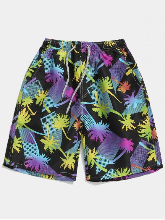 trendy Geometric Coconut Palm Print Beach Shorts - BLACK L