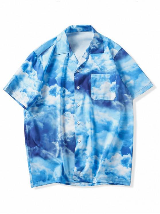 hot Tie Dye Print Short Sleeves Shirt - DODGER BLUE L