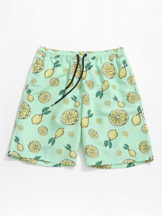 Shorts de tablero con estampado de pera y limón de Hawaii - Multicolor L