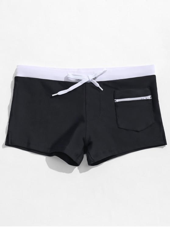 Calzoncillos de cremallera Bolsillo de color bloque de natación - Negro XL